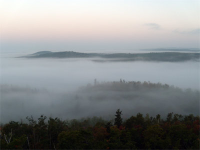 Morning Fog fills the valleys, leaving just a few ridgelines in view, Minnesota, 2009