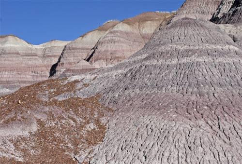 Colored Layers and Erosion Gullys in the  Ash Badlands
