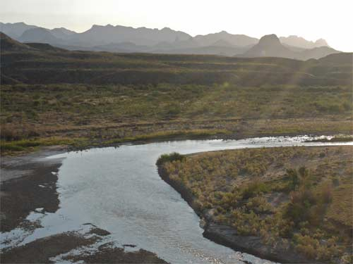 Rio Grande from the exit of Santa Elena Canyon a little after dawn.
