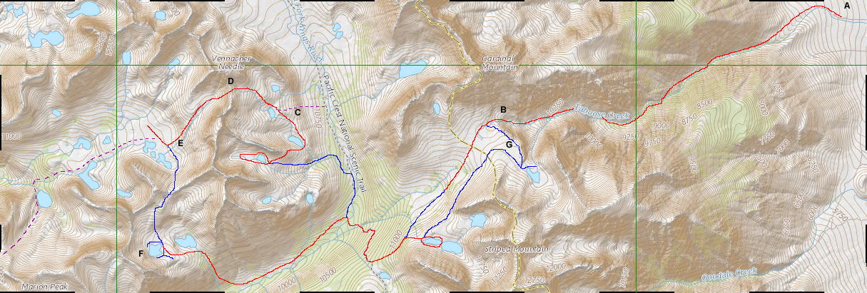 Map of 2017 Sierras Trip with Jim