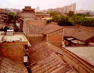 Xi'an Buildings, brick with tile roofs.