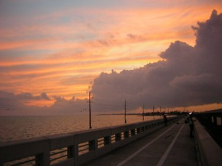 Sunset on one of the bridges I walked. Florida, 2005