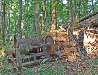 A winch abandoned in the East Palisades Woods.