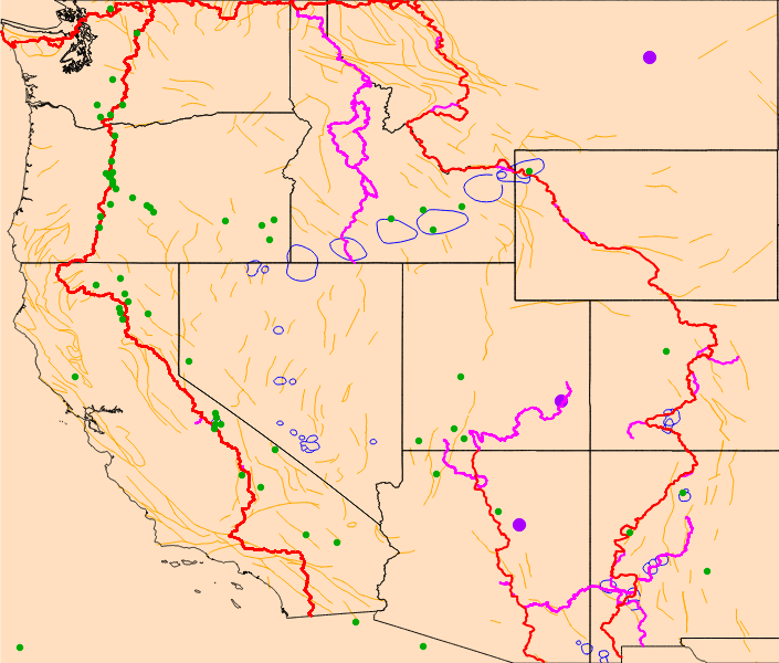 Faults Volcanos Impact Craters And Calderas - Calderas in the us map